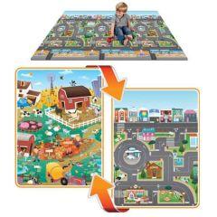 Mega tapis de jeu pour enfant recto verso (ville-ferme) Prince Lionheart