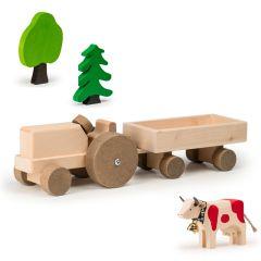 Jouet 100% Suisse Trauffer Tracteur et sa remorque en bois, Jouet Durable, Qualité Suisse, Livraison Gratuite