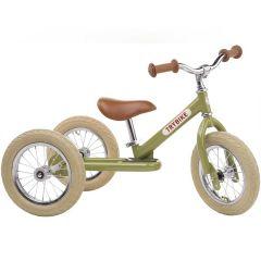 Tricycle Trybike Vintage en acier, dès 15 mois, qui se transforme en draisienne 2 roues 12 pouces, vert