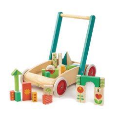 Trotteur pour apprendre à marcher, Chariot bébé avec Cubes en Bois, Tender Leaf Toys
