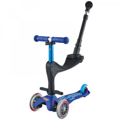 Trottinette Micro 3 en 1 Deluxe Plus avec barre Push, Enfant 1 à 5 ans bleu, Livraison Gratuite, Boutique Suisse