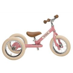 Tricycle Trybike Draisienne Evolutive Fille Rose Vintage dès 15 mois, 12 pouces, rose