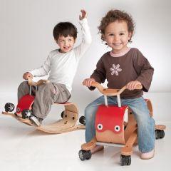Trotteur pour bébé et jouet à bascule Wishbone Flip 2 en 1 rouge, Livraison Gratuite
