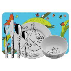 Set Cadeau Vaisselle 7 pieces pour Enfant, Tommi le Paresseux, Cadeau à personnaliser en gravant prénom, WMF