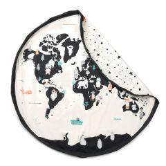 Sac de jeux & Carte du Monde, Baluchon 2en1 pour ranger ses  jouets et décourir le monde, Idée Cadeau Play & Go