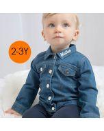 Chemise OekoTex Jeans 100% Cotton, prénom en broderie 2-3 ans