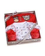 Coffret Naissance Pyjama Bébé fille ou garçon Zoo, rouge, 6 mois Les Bébés l'Elizéa