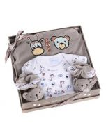 Coffret Naissance Pyjama Bébé fille ou garçon Zoo, gris, Les Bébés l'Elizéa