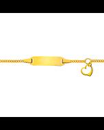 Gourmette Or 750 Coeur, Bracelet Identité Bébé, 14cm, Livraison Gratuite Suisse