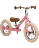 Premier Petit Vélo Trybike Fille, Draisienne Vintage en acier, 2 roues 12 pouces, convertible en 3 roues rose, Livraison Gratuite