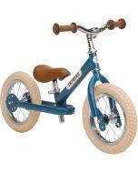 Draisienne Trybike Metal Bleu Garçon ou Fille Vintage, Vélo 12 pouces convertible en tricycle,