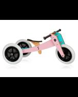 Vélo évolutif Wishbone rose, en bois et sans pédale, Vélo 3en1 28-46cm